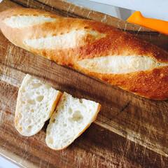 フード/美味しい/手作り/パン/バケット/イーストパン 人生初バケット!  生まれて初めてバケッ…