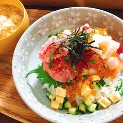 おうちごはん/どんぶり/海鮮丼/グルメ/まかない風 まかない風海鮮丼🌟 右側はお刺身をサイの…