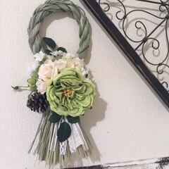 造花/しめ縄/ハンドメイド/100均/セリア セリアのしめ縄ベースと造花を使ってオシャ…