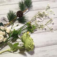 造花/しめ縄/ハンドメイド/100均/セリア セリアのしめ縄ベースと造花を使ってオシャ…(3枚目)