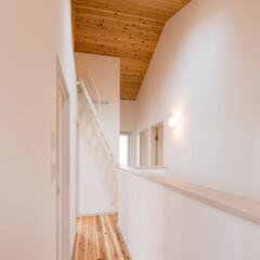 勾配天井/ロフト/トップライト/羽目板/無垢 杉板貼りの勾配天井にトップライトの明り取…