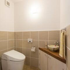 トイレ/信楽焼/手洗い鉢 信楽焼の手洗い鉢で仕上げたオーダートイレ…
