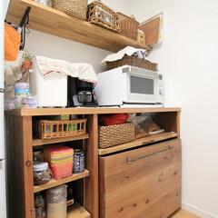 手作り家具/オーダー家具/キッチンカウンター/家電収納 手作りキッチンカウンターの導入後の写真で…