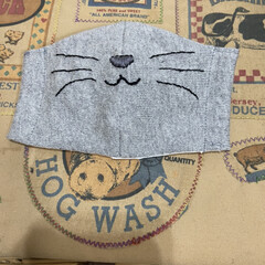 雑貨/手作りマスク/ハンドメイド/猫/子供用 子供用のマスクで、可愛いくて人と被らない…(2枚目)