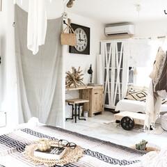 カーテン/リビング/雑貨/100均/セリア/インテリア/... リノベーション時、部屋と部屋の壁と、扉を…