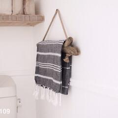 トイレインテリア/タオルハンガー/流木 トイレのタオルハンガーには、流木を使用し…