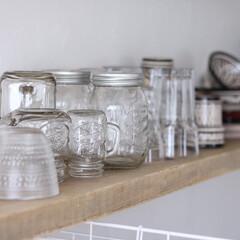 ガラス/グラス/100均/ダイソー よく使うグラス達は食器棚の一番下♪ ガラ…