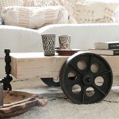 トロリーテーブル/古材/インダストリアル/DIY DIYしたトロリーテーブル。キャスターは…