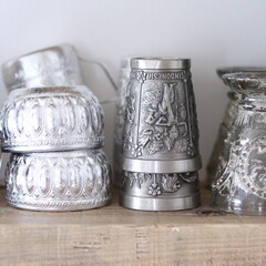 アルミ食器/ビアタン/タンブラー/グラス/食器/民族 個性の強い民族チックな食器、グラス類は高…