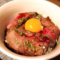 簡単料理/ローストビーフ丼/ローストビーフ/グルメ/フード お手製のローストビーフで満腹ローストビー…