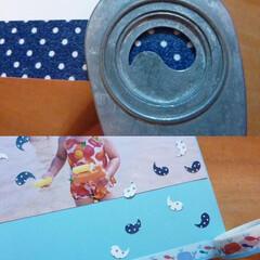 クラフトパンチ/マスキングテープ/アルバム/ペーパークラフト 白い画用紙にマスキングテープを貼って、ク…
