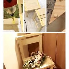 キッズチェア/DIY/ハンドメイド/家具/椅子 /インテリア/... キッズチェアとしてはもちろん、お花を飾っ…(1枚目)