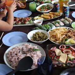 誕生日/エスニック料理/テーブルコーディネート/わたしのごはん ばばの誕生日  祖母の誕生日会のテーブル…