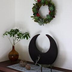 枝もの/IKEA/フラワーベース/鋳物トナカイ/コッパー 玄関のディスプレイです(^^♪