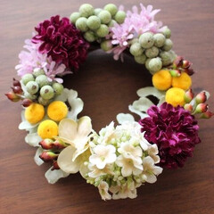 ミニリース/春/アーティフィシャルフラワー/プレゼント/ラッピングに アーティフィシャルフラワーで春らしいミニ…