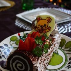 クリスマス/ブッシュドノエル/チョコプレート 手作りブッシュドノエルとチョコプレート