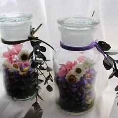 フラワーボトル/春/プリザーブドフラワー&ドライフラワー/ミンネ 花びらいっぱいのフラワーボトルです♪ プ…