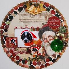 クリスマス/スクラップブッキング/アルバム/ドッグ/犬/写真 可愛い飼い犬の写真のスクラップブッキング…