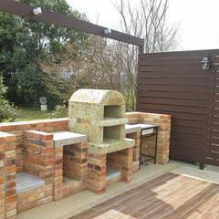 バーベキューコンロ/BBQコンロ/レンガ/ナチュラル/アンティーク/ガーデン/... アンティークレンガを使ったバーベキュース…
