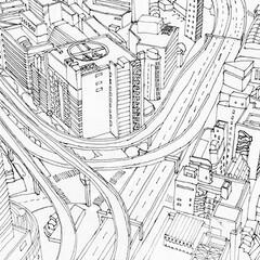 建築/設計/都市/スケッチ/東京/俯瞰図/... 都市を俯瞰した手描きスケッチ。