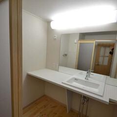 シンプル/マンション/リノベーション/大きな鏡/洗面 マンションのリノベーション シンプルな洗…