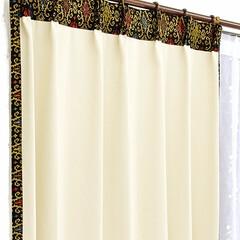 カーテン/カーテン 通販/カーテン 北欧/北欧/カーテン おしゃれ/おしゃれ 色彩豊かなロココ調紋章柄飾りの、おしゃれ…