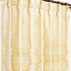 カーテン/カーテン 通販/カーテン 遮光/カーテン 既製/カーテン 遮熱 防音 保温 おしゃれなロココ調紋章柄のシャンパンゴー…