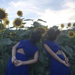 平成最後の夏/ひまわり/チャオパニックティピー/姉妹コーデ/夏コーデ/ファッション/... 夕方に近所のひまわり畑へ♡ 子供よりも大…