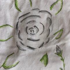 手作り絵付き布バック/楽しく描く/友達へのプレゼント🎁 又、布用マジックとクレヨン🖍で絵を描いて…