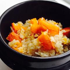 かぼちゃ かぼちゃの炊き込みご飯です。 燻製醤油と…