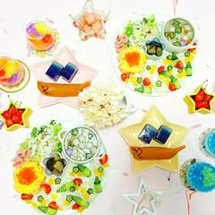 ホームパーティ/カフェごはん/おうちごはん/七夕/フォロー大歓迎/至福のひととき/... 日曜日に作った七夕ご飯🍴 そうめんに野菜…