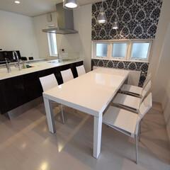 インテリア/ダイニングテーブル/白家具/白鏡面/シンプル/モダン/... インポート製品/白い鏡面仕上げのダイニン…