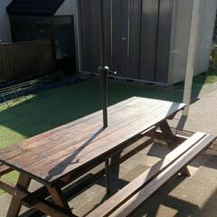 バーベキューテーブル/ガーデンパラソル/塗装/自作/バーベキュー/BBQ/... 昨年DIYで作ったバーベキューテーブル。…
