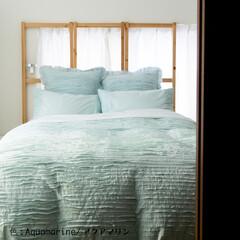 ベッドカバー/掛け布団カバー/布団カバー/フリル/寝具/インテリア ベッドカバー・Riffle・アクアマリン