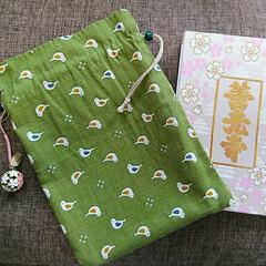 袋物/手作り/御朱印帳/おでかけ/雑貨/100均 御朱印を始めた時に手持ちの布で袋(使い込…