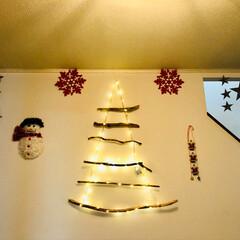 クリスマス雑貨/クリスマスインテリア/クリスマスツリー/ダイソー/ハンドメイド/住まい/... 玄関に流木のツリー❣️ ライトだけ巻き付…