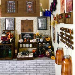 ハロウィン/インテリア/DIY/雑貨/100均/ハンドメイド カフェコーナーと出窓🎃