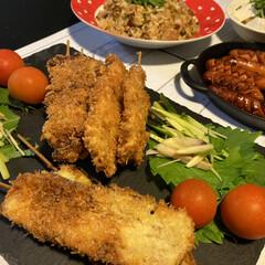 串カツ/大葉尽くし/おうちごはん 昨日の夕食〜😁 毎日、大葉食べてます(笑…