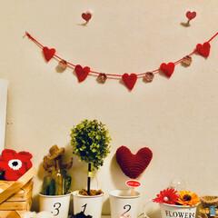 編み物/バレンタイン2020/雑貨/ハンドメイド/暮らし トラのママさんが❤のガーランド作ってたの…