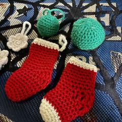 編み物/クリスマス雑貨/豆腐/チーズ/レンチン 少しずつ編み編みしてます(*Ü*) 来月…