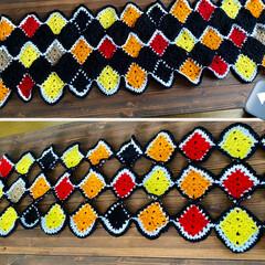 編み物/モチーフ編み/ハンドメイド やっと、完成🙌 ショールにはちょっと丈が…(2枚目)