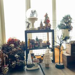クリスマス雑貨/クリスマスインテリア/クリスマス/リビング/ハンドメイド/雑貨/... 我が家の🎄はコレで飾り付け終了〜☺️🎶 …