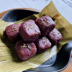カニカマ/玉ねぎ/茗荷/茄子/ピーマン/人参/... 紫芋をいただいたので、スイートポテトを作…(2枚目)