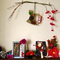 お正月飾り/おうち/おうちごはんクラブ/おうちごはん/グルメ/フード/... 玄関をお正月🎍モードに☝️ 昼と夜のと思…