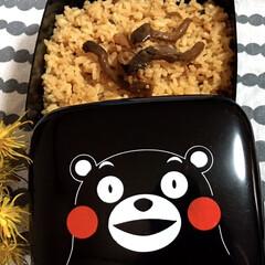 秋/炊き込みご飯/くまモン 秋の味覚の きのこの炊き込みごはん☺️🎶…