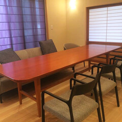 DIY/部屋作り(部屋づくり)/部屋作り 8人掛けができる大きなテーブル 部屋に合…