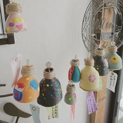 おうち/癒しの空間/手作り風鈴/暮らし/DIY/100均 ペットボトルで作った手作り風鈴   麻紐…(1枚目)