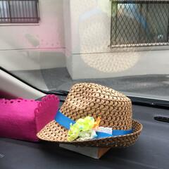 夏コーデ/ファッション/100均/セリア/ハンドメイド セリアの帽子、 お花、リボン、 ラメシー…(1枚目)