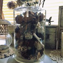 秋色/秋色を楽しむ/木の実/ダイソー/セリア/100均/... ガラス容器に適当に入れて飾ってみました。…