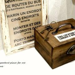100均リメイク/リメイク/ハンドメイド/カフェ風/ナチュラル/アンティーク風/... セリアの木箱2つで 宝箱みたいな小物入れ…